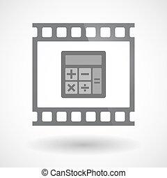 film 35mm, isolé, cadre, diapo, photogram, calculatrice