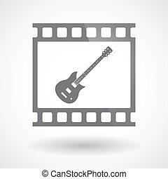 film 35mm, isolé, guitare, cadre, diapo, électrique, photogram