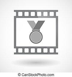 film 35mm, médaille, isolé, cadre, diapo, photogram