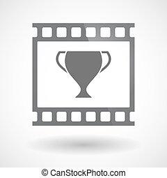 film 35mm, tasse, isolé, cadre, diapo, récompense, photogram