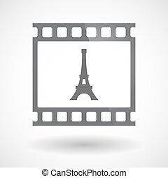 film 35mm, tour, isolé, cadre, diapo, eiffel, photogram