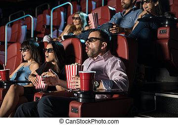 film, 3d, gens, regarder