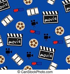 film, abstraktní, seamless, model, vektor, grafické pozadí