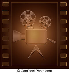 Movie camera of an obsolete design located on a film of brown color