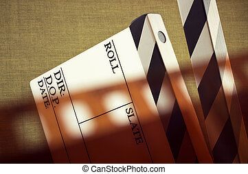 film and clapboard - fine old style image of clapboard with...