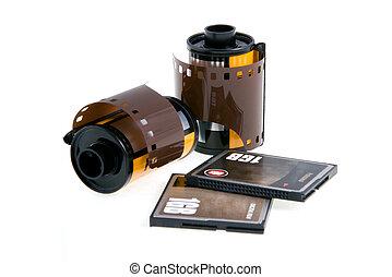 Negative and digital film. Macro