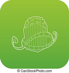 Film and popcorn icon green vector
