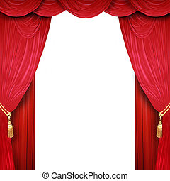 Film and theater stage - Red curtain of a classical theater