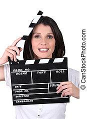 film, ardoise, femme, brunette