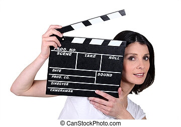 film, ardoise, femme