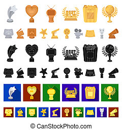 Film awards and prizes cartoon icons in set collection for design. The World Film Academy vector symbol stock web illustration.