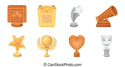 Film awards and prizes icons in set collection for design. The World Film Academy vector symbol stock web illustration.