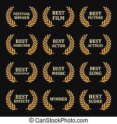 Film Awards Gold Labels Set on Black Background. Vector