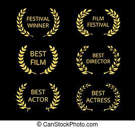 Film Awards - Vector Film Awards, gold award wreaths on...