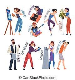 film, beroepen, beeldhouwer, creatief, kapper, kunstenaar, ...