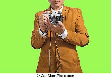 film, bevétel, fiatal, closeup, háttér, portré, fehér, felett, ember