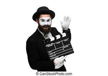 film, bild, pantomime, brett, freudig, mann