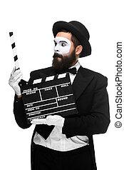 film, bild, pantomime, brett, mann