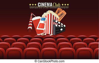 film, bio, premiär, affisch, design., vektor, mall, baner, för, visa, med, sittplatser, popcorn, tickets., röd, bakgrund.