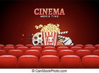 film, bio, premiär, affisch, design., vektor, mall, baner, för, visa, med, sittplatser, popcorn, lottsedlar