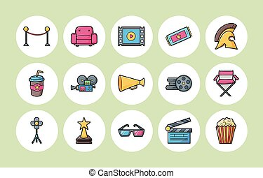 film, bioscoop, set, iconen