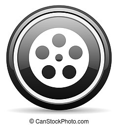 film black circle glossy web icon
