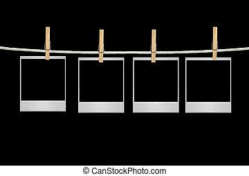 film, blanks, hangend, een, koord