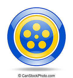 film blue and yellow web glossy round icon