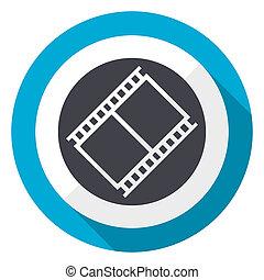 Film blue flat design web icon