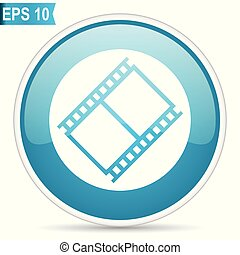 Film blue glossy round vector icon in eps 10. Editable modern design internet button on white background.