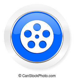 film blue glossy web icon