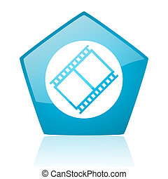 film blue pentagon web glossy icon