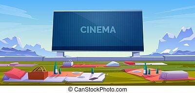film, buiten, bioscoop, open lucht, theater zitplaatsen