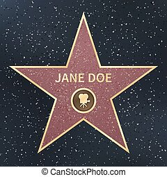 film, célébrité, star., acteur, promenade, vecteur, illustration, hollywood, renommée