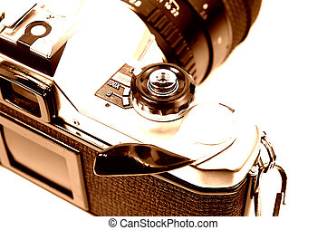 Film Camera - 35mm Camera in Sepia Tone
