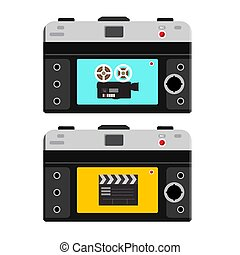 Film Camera and Clapper Board on Back Side of Photo Camera. Footage Recording Icons. Vector Video Devices.