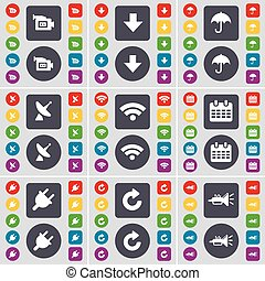 Film camera, Arrow down, Umbrella, Satellite dish, Wi-Fi, Calendar, Socket, Reload, Trumped icon symbol. A large set of flat, colored buttons for your design. Vector