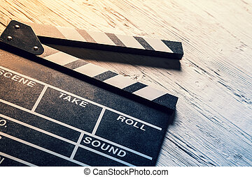Film camera chalkboard - Film wooden camera chalkboard on ...