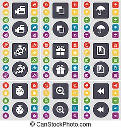 Film camera, Copy, Umbrella, Speaker, Gift, File, Stop watch, Magnifying glass, Rewind icon symbol. A large set of flat, colored buttons for your design. Vector