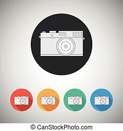 Film camera icon on round backgroun