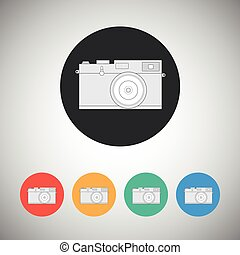 Film camera icon on round background