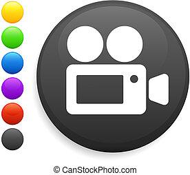 film camera icon on round internet button