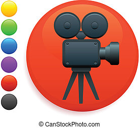 film camera icon on round internet button