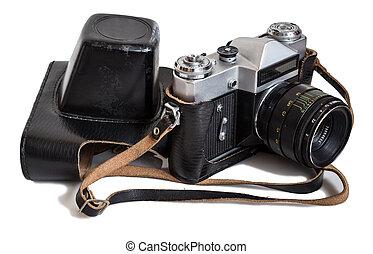 film camera - old film camera isolated on white background