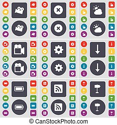 Film camera, Stop, Cloud, Gear, Arrow down, Battery, RSS, Signpost icon symbol. A large set of flat, colored buttons for your design. Vector