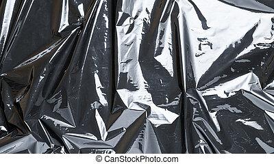 film, cellophane., kreativ, tasche, plastik, schwarz, pattern., beschaffenheit, zerknittert, durchsichtig, hintergrund., cellophan, einhüllen, dunkel, glänzend