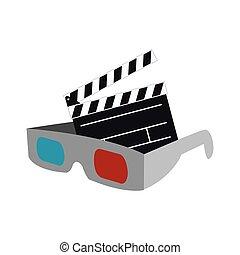 film, cinéma, conception, 3d lunettes