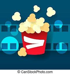 film., cinéma, verre, chaud, vecteur, pop-corn