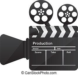 film cinema camera conceptual over white background. vector