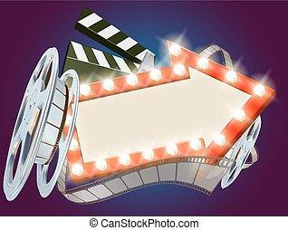 film, cinema, freccia, fondo, segno